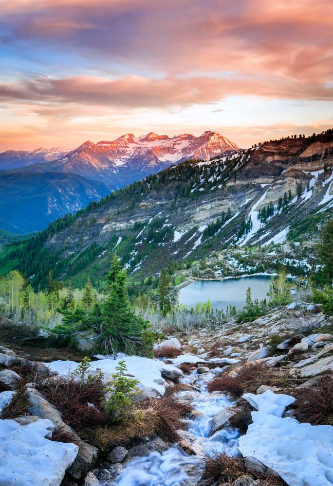 silver lake snowy stream