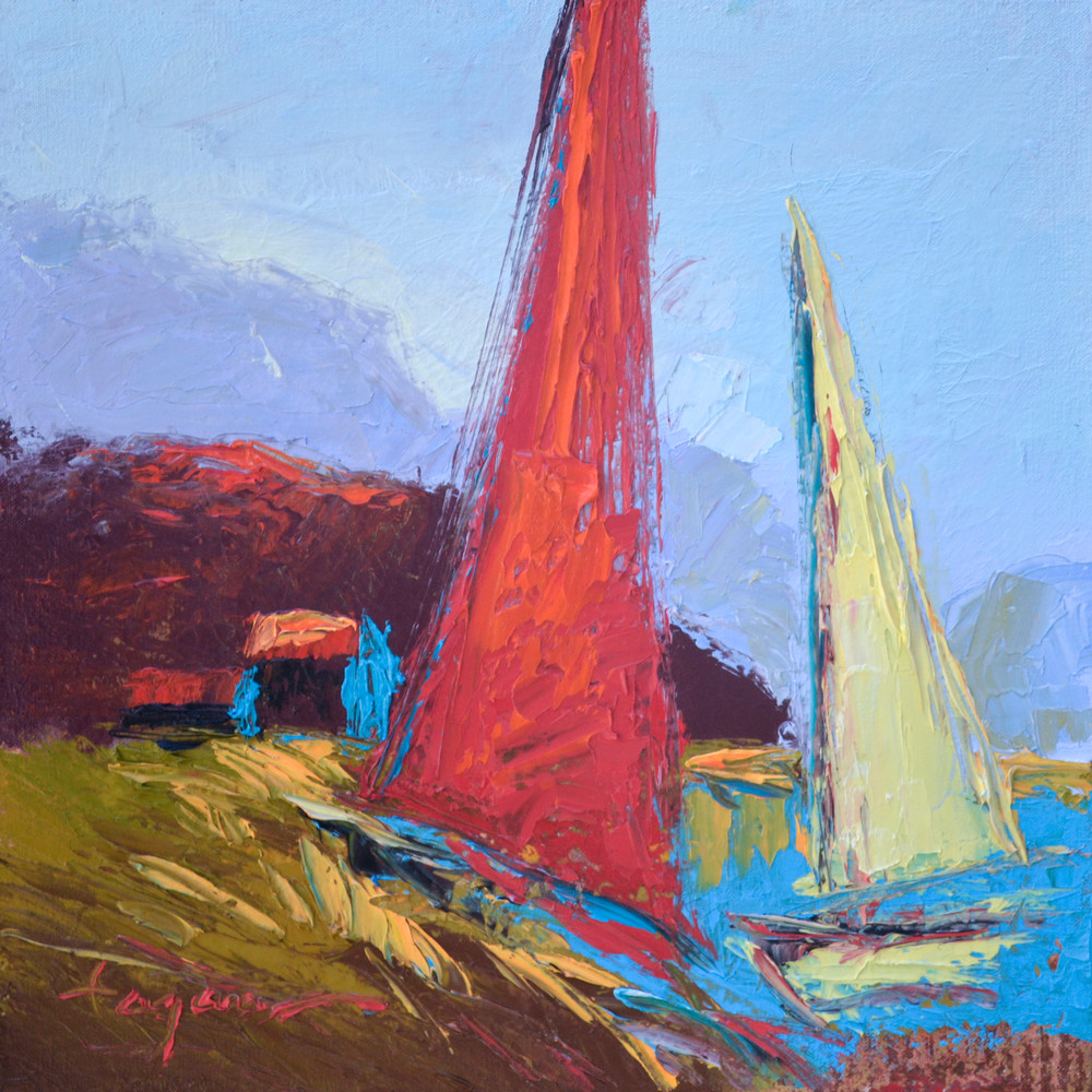 Red Sailboat Painting, Fine Art Print by Dorothy Fagan