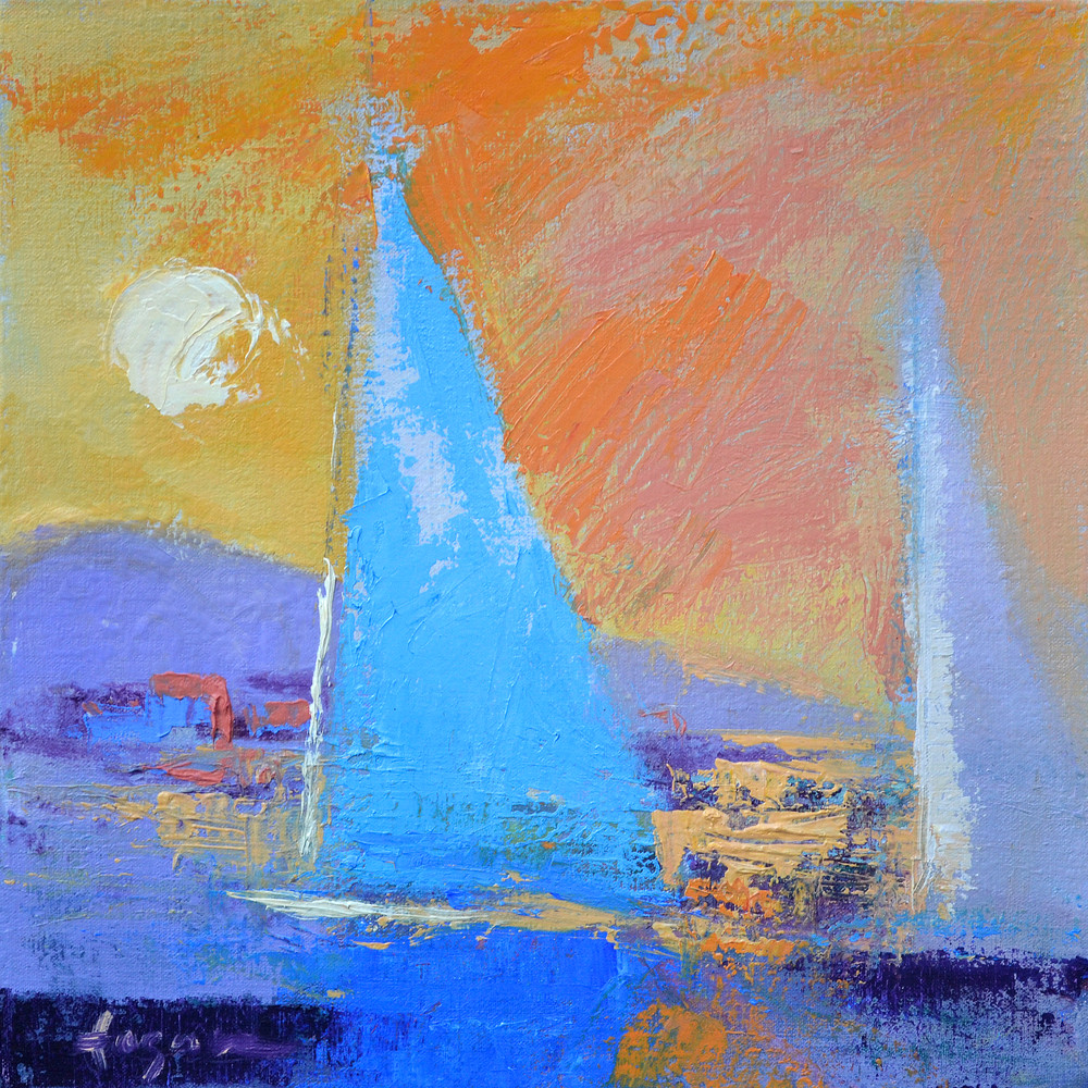 Blue Sailboat Painting Fine Art Print by Dorothy Fagan