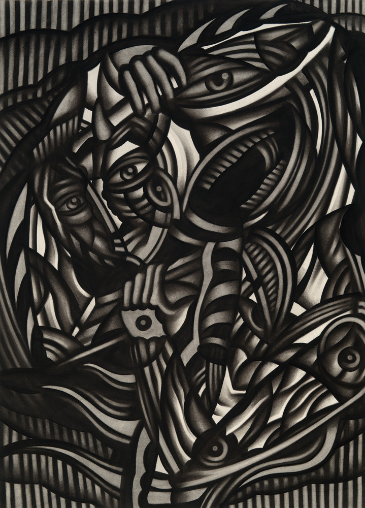 Charcoal abstract drawing