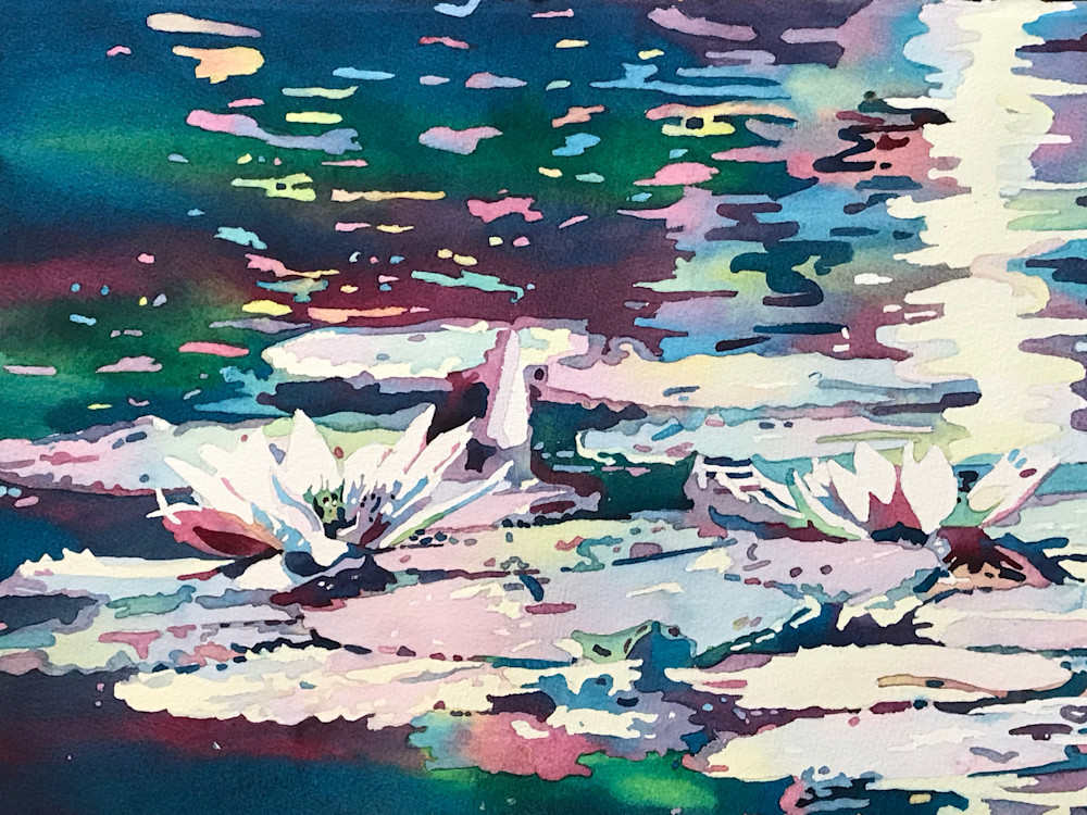 Sensational Water Lilies Inspire Surreal Painting.  Shop Prints/ Patrice Cameron Art.