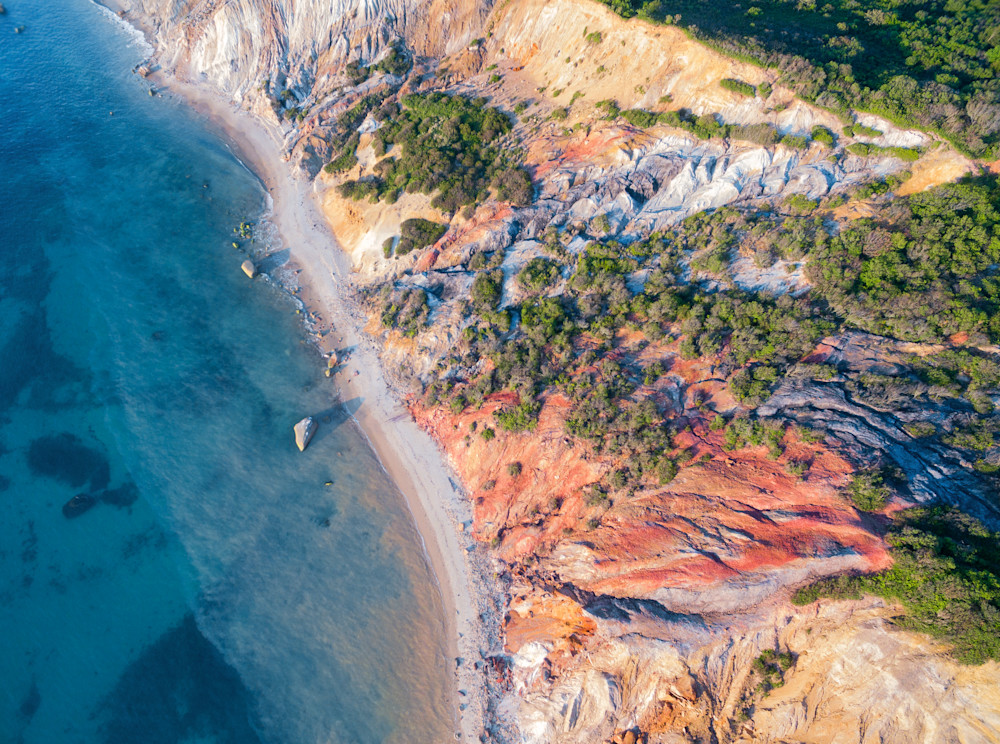 """Over Gay Head Bluffs"" Aquinnah Martha's Vineyard Aerial Fine Art Beach Coastal Cliffs Photograph"