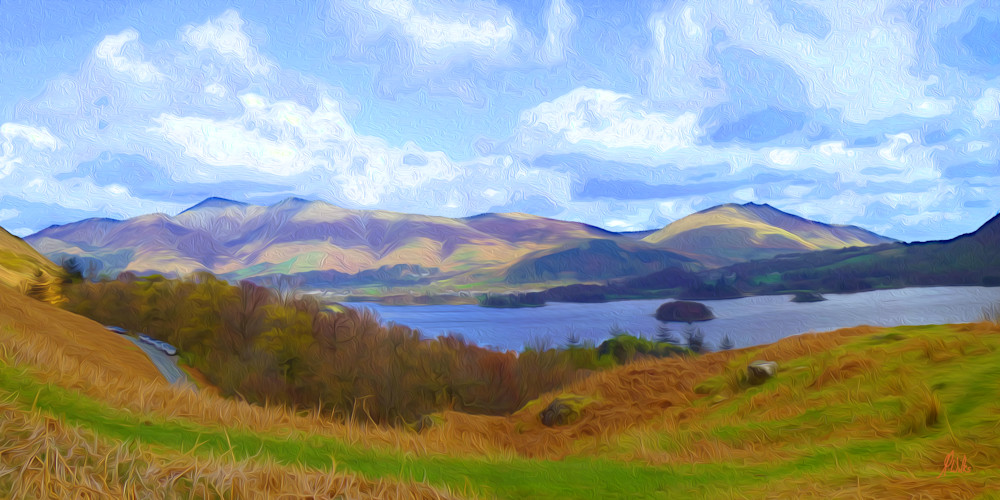 Remembering Carol, print of photograph of the view from Catbells in the Lake District National Park, England for sale as digital art by Maureen Wilks