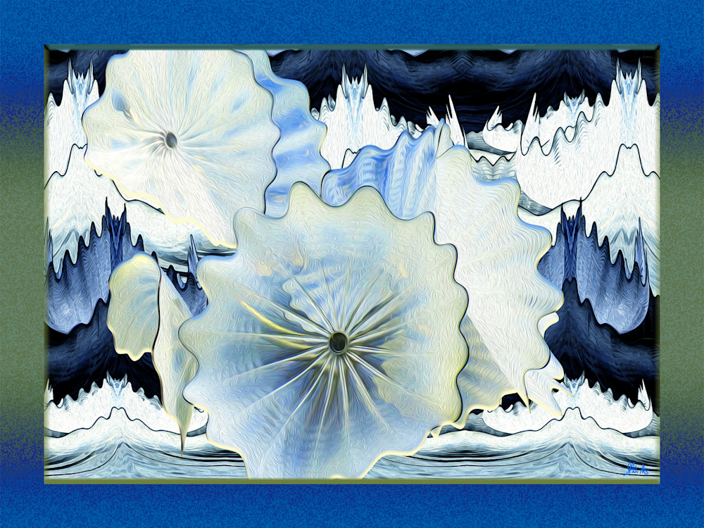 Chihuly Water Lilies, print of photograph of Chihuly glass design, Kew Gardens, London for sale as digital art by Maureen Wilks
