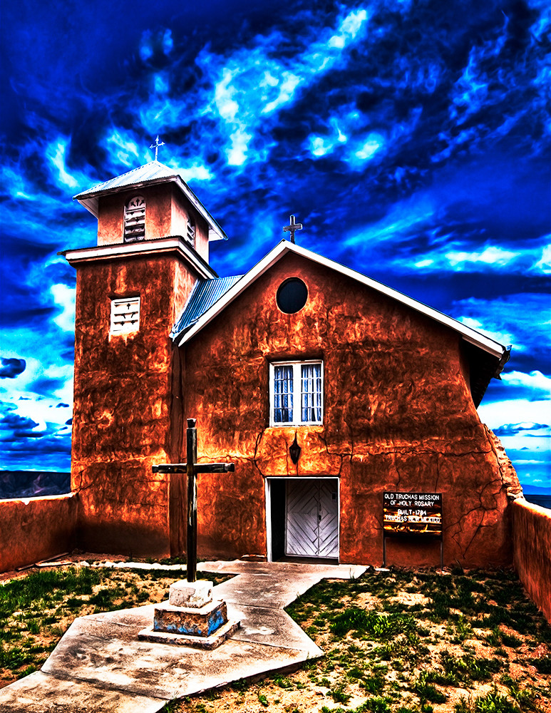 Old Truchas Mission - New Mexico Art Print By Christopher Gatelock