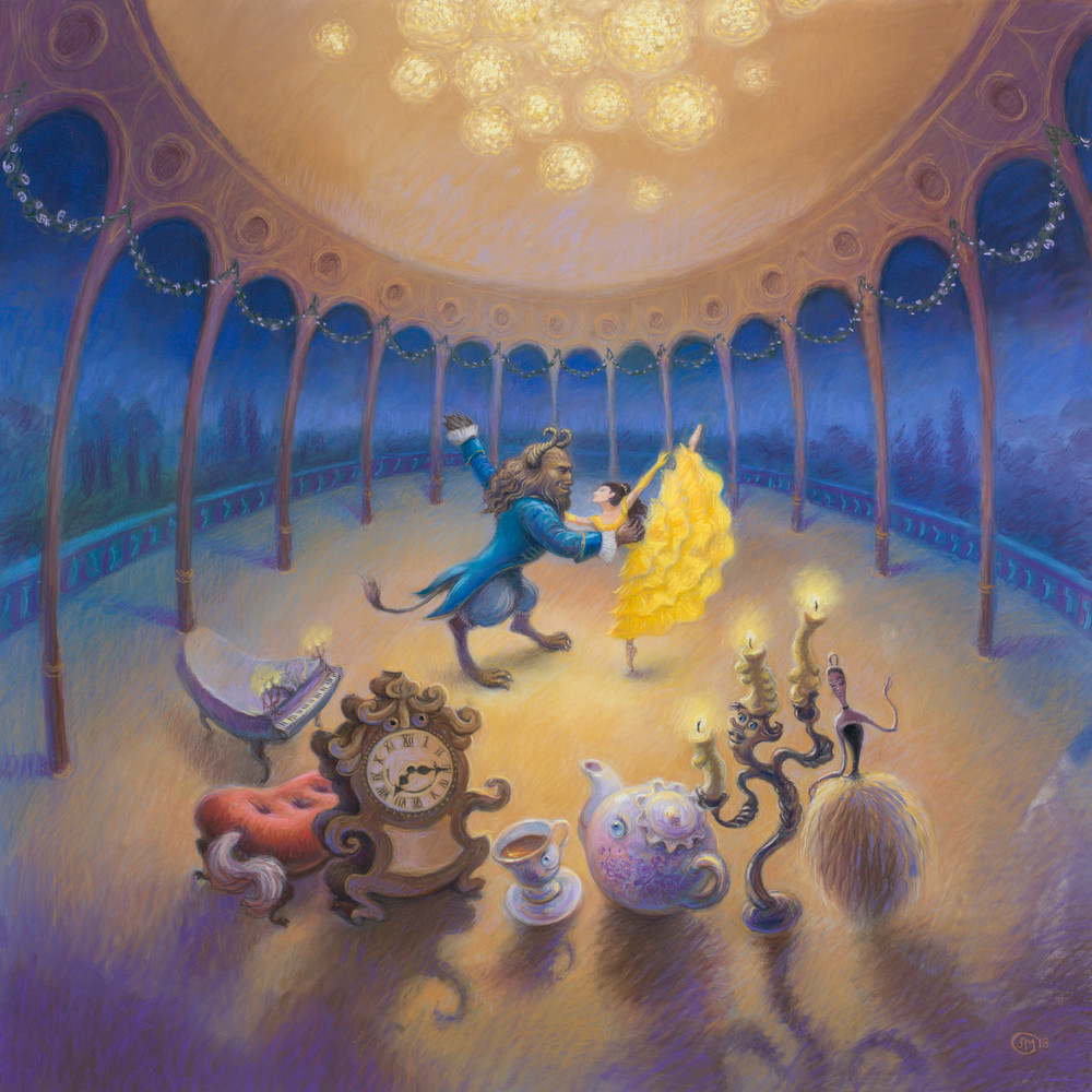 Beauty and the Beast Ballet pastel art print