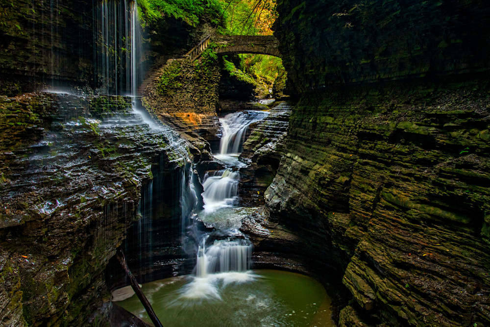 Watkins Glen Gorge Rainbow Falls overlook photography prints
