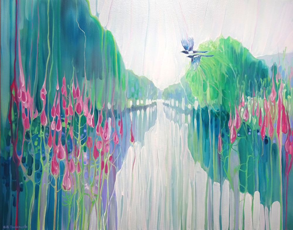 prints on canvas or paper of a semi abstract landscape painting of a sussex riverbank with wildflowers and magpies