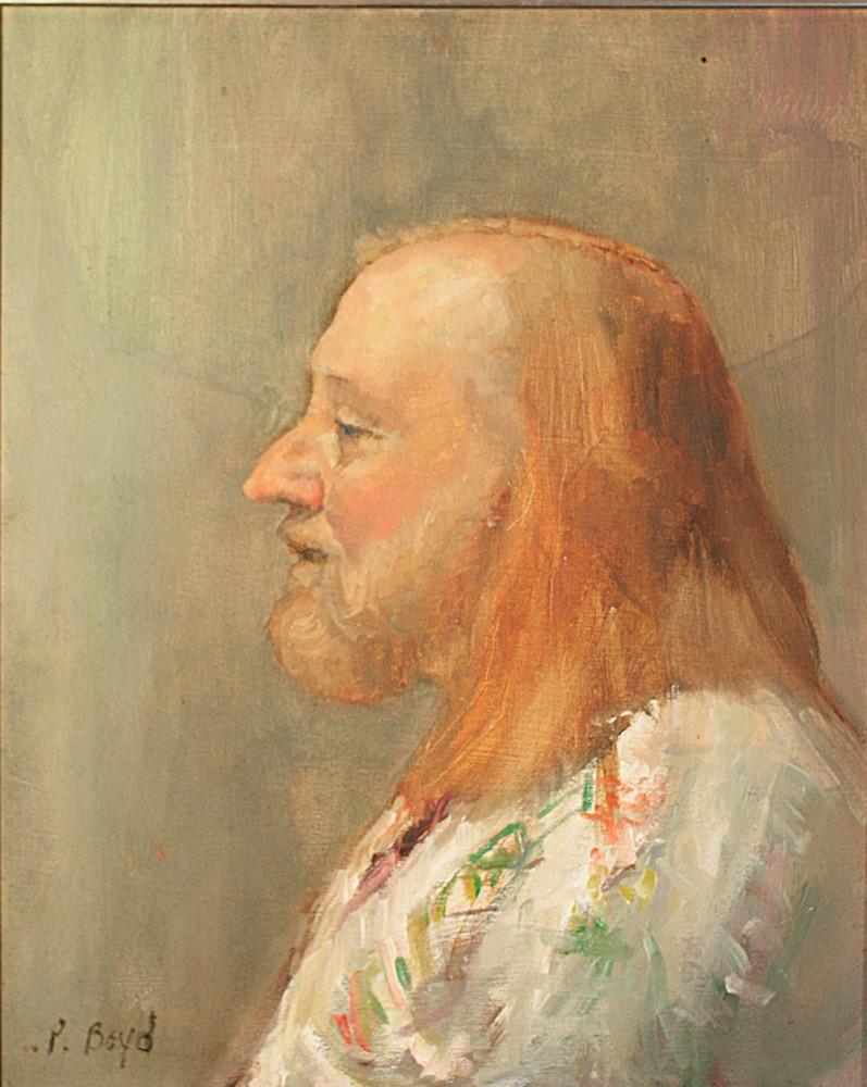 "Southwet art portrait ""Kettle Corn Man"", modern southwest portrait by Peg Connery-Boyd"