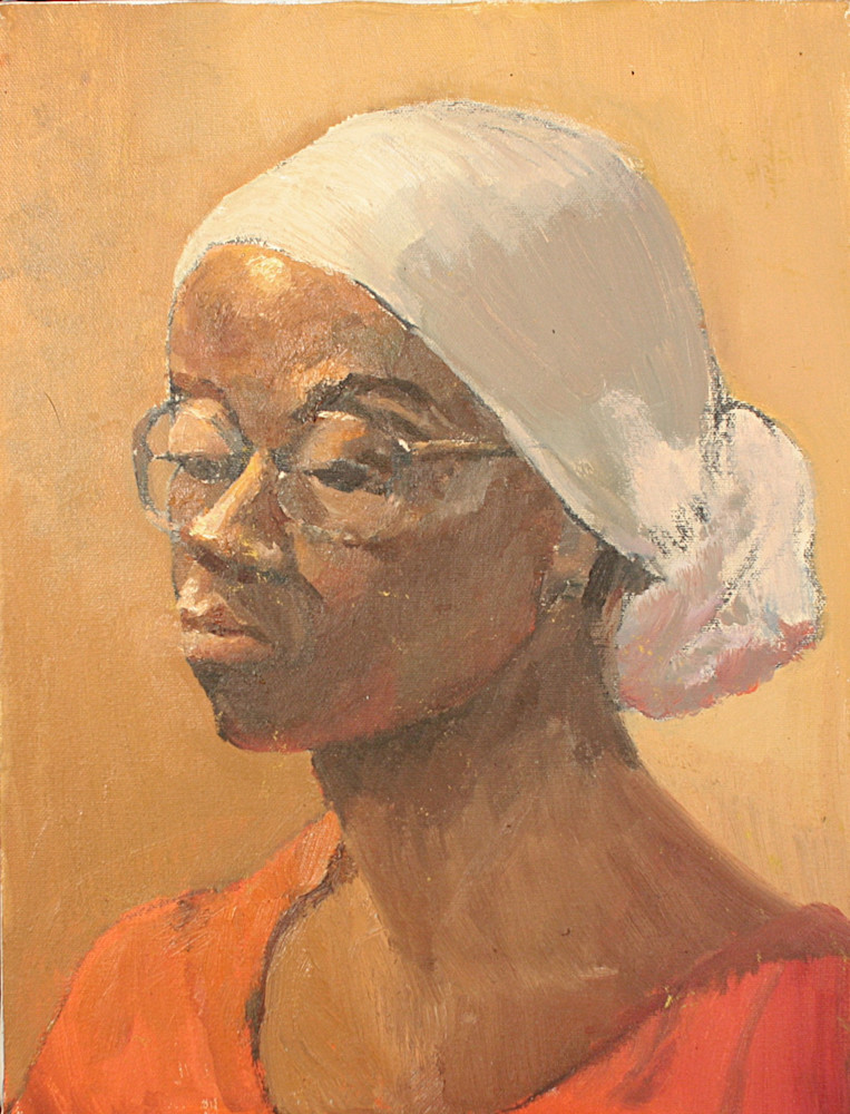 """Impressionist, loose portrait """"Mother from Somalia"""" by Peg Connery0Boyd, oil painting of urban immigrant woman"""