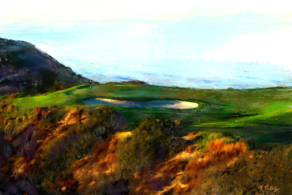 Torrey Pines golf painting | Sports artist Mark Trubisky | Custom Sports Art