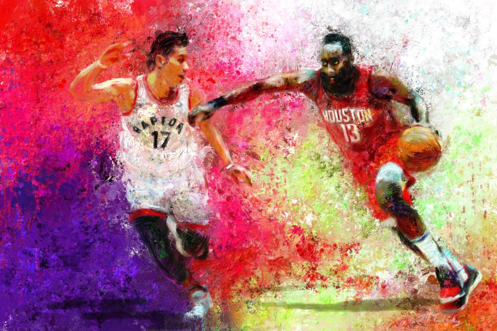 James Harden Painting | Sports artist Mark Trubisky | Custom Sports Art