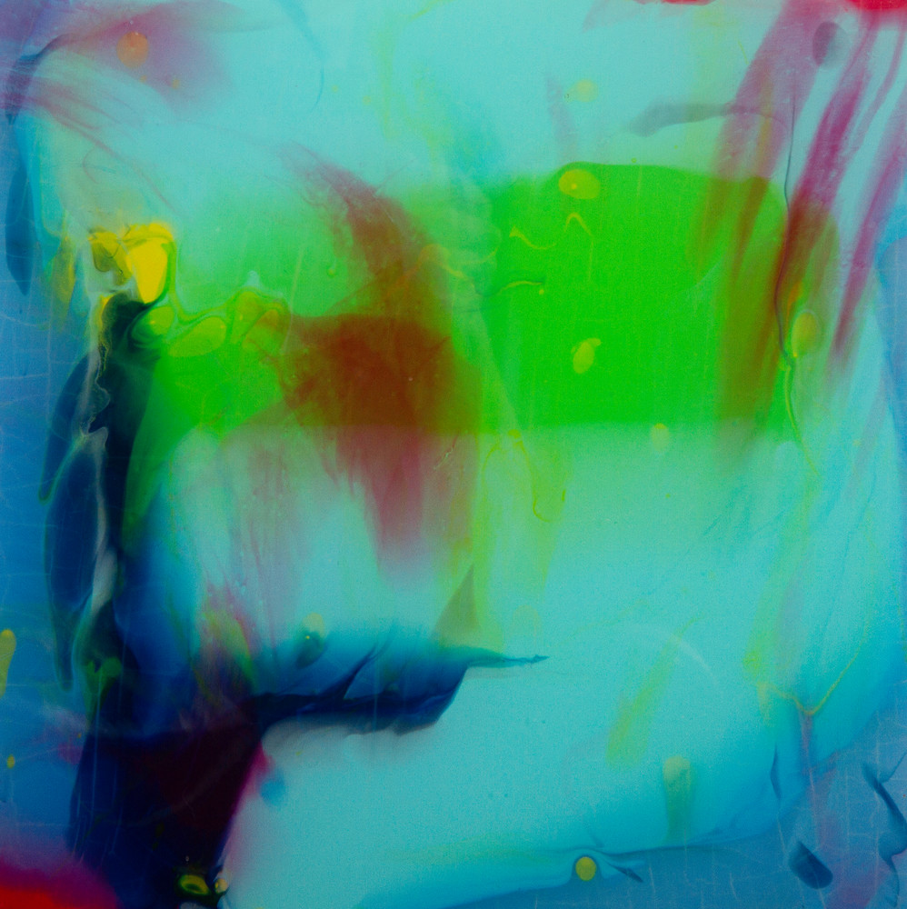 Blue abstract painting evocative of exotic undersea world