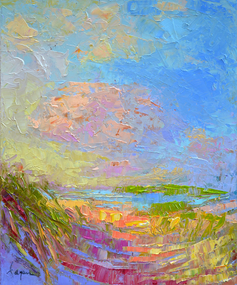 Small Beach Painting Dunes by Dorothy Fagan
