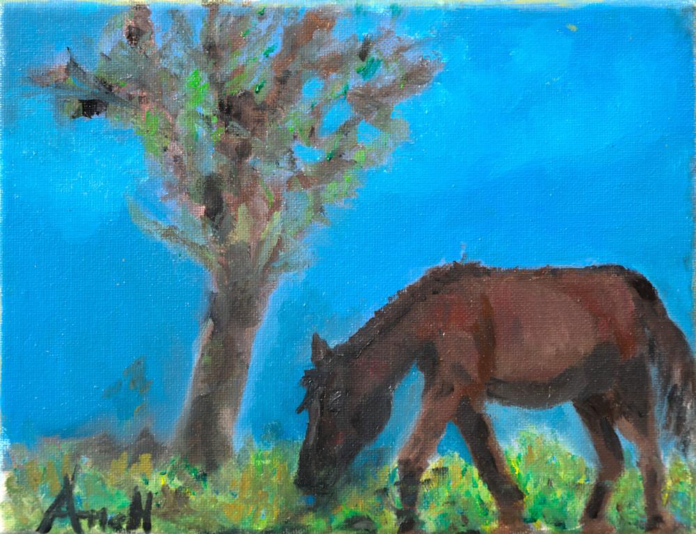 Horse grazing under a treee western art