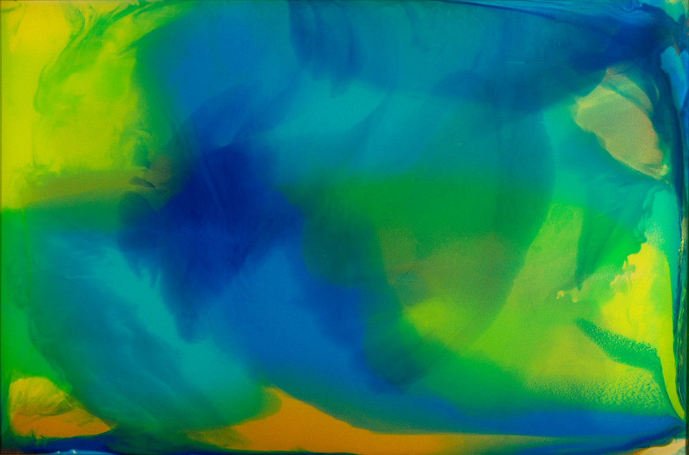 Spring Sonnet, abstract art, acrylic, greens and blues, color field