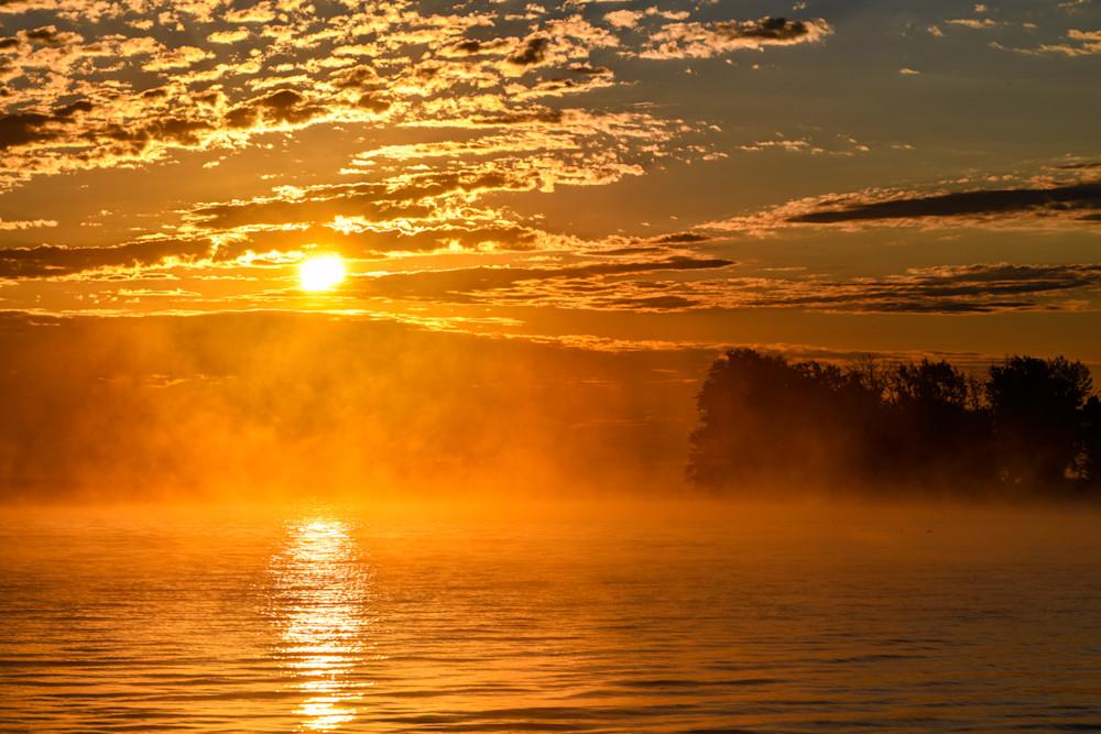 Foggy Oneida Lake sunrise New York photography