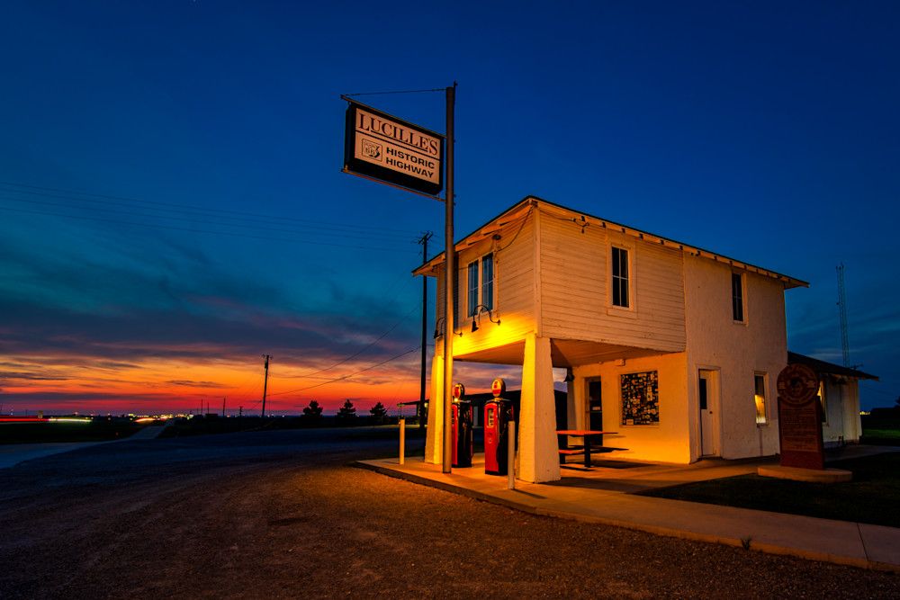 Sunset at Lucille's Service Station on Route 66 photography prints