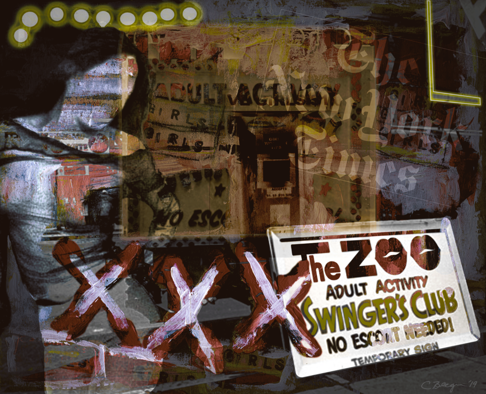 The Zoo (Times Square circa 1975), 2019, by artist Carolyn A. Beegan