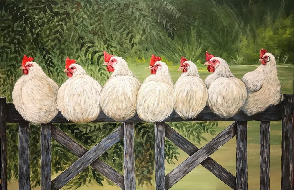 Chickens On A Fence Art | alanajudahart