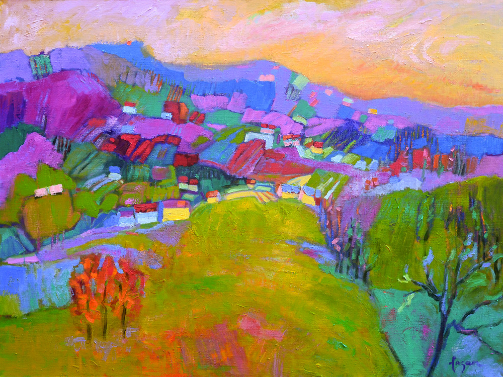 Abstract Purple Mountain Landscape Painting, Fine Art Print by Dorothy Fagan