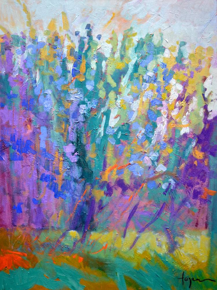 Abstract Purple  Delphinium Painting, Fine Art Print by Dorothy Fagan