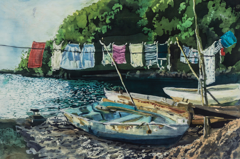 """""""Wash Day: St. Lucia"""" a batik painting on silk by artist Muffy Clark Gill. It measures 26 x 34 in"""