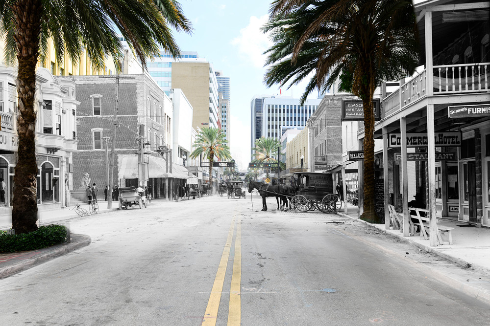 Flagler Looking East On Avenue D From Miami Avenue Art | Mark Hersch Photography