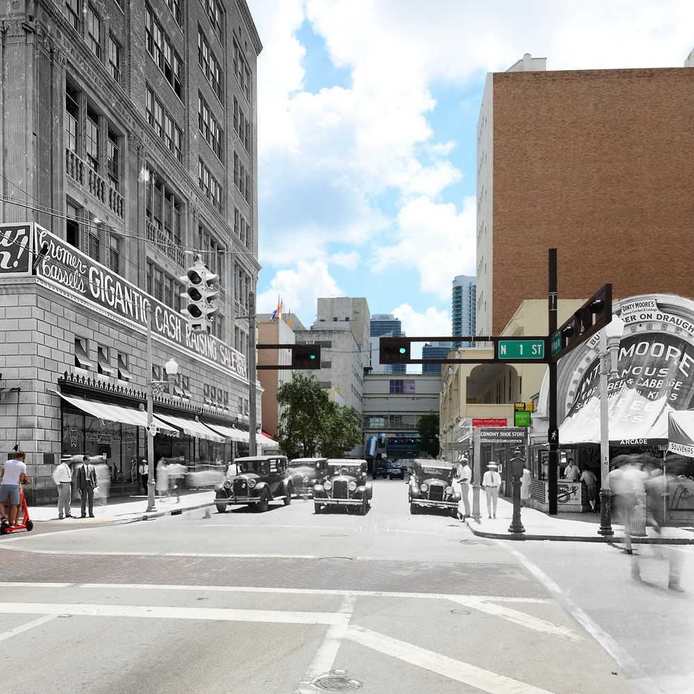 Looking Down Miami Avenue From 1st Street Art   Mark Hersch Photography