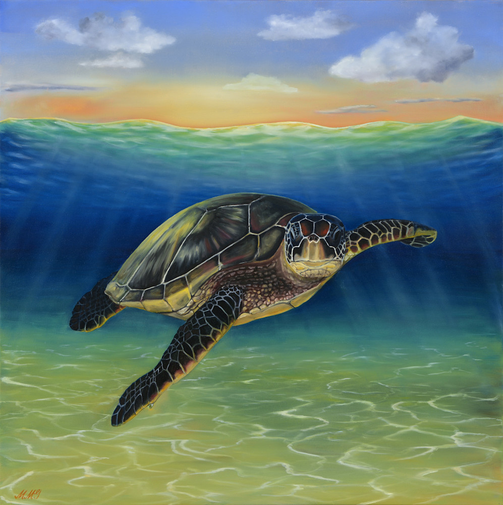 Sea Turtle Oil Art | MMG Art Studio | Fine Art Colorado Gallery
