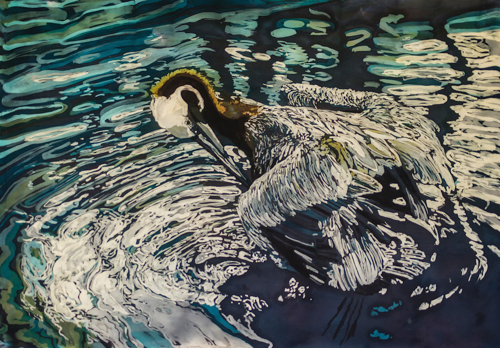 """Preening"" by artist_Muffy Clark Gill_Preening is a  rozome (batik) painting on silk."