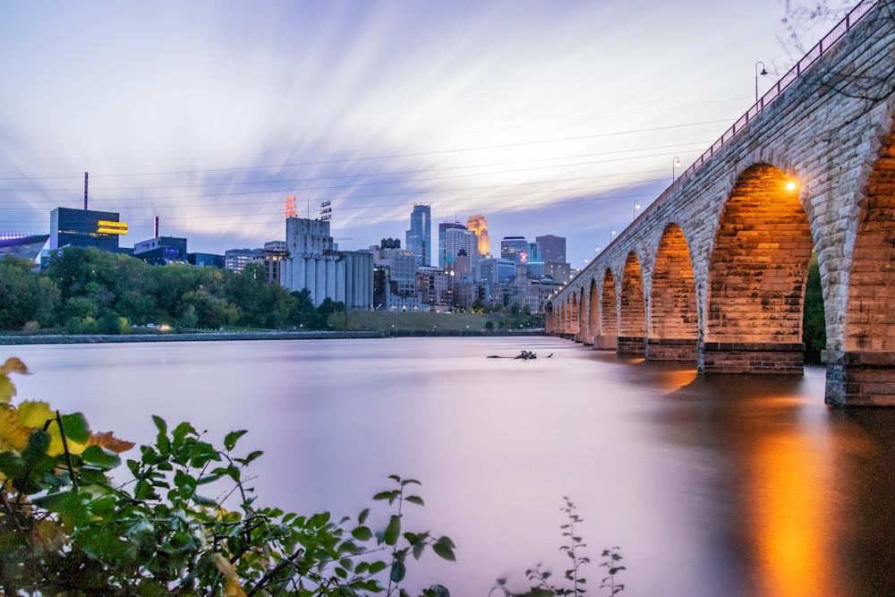 Stone Arch Bridge Skyline - MPLS Skyline Art   William Drew Photography