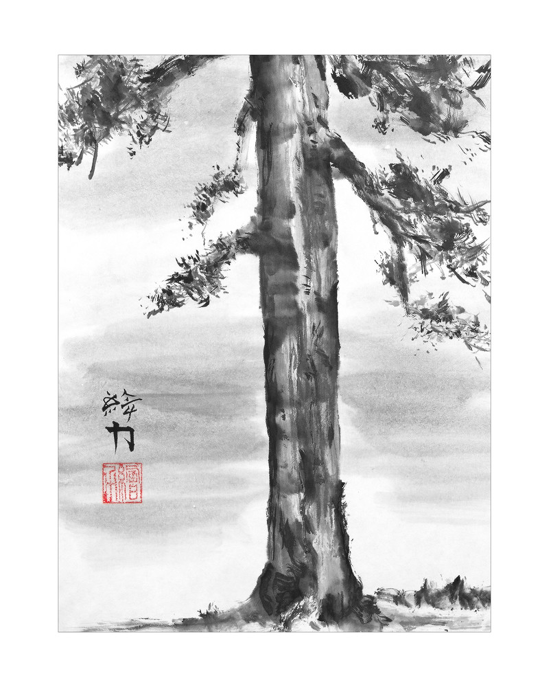 sumi-e, pinetree, two, black, ink