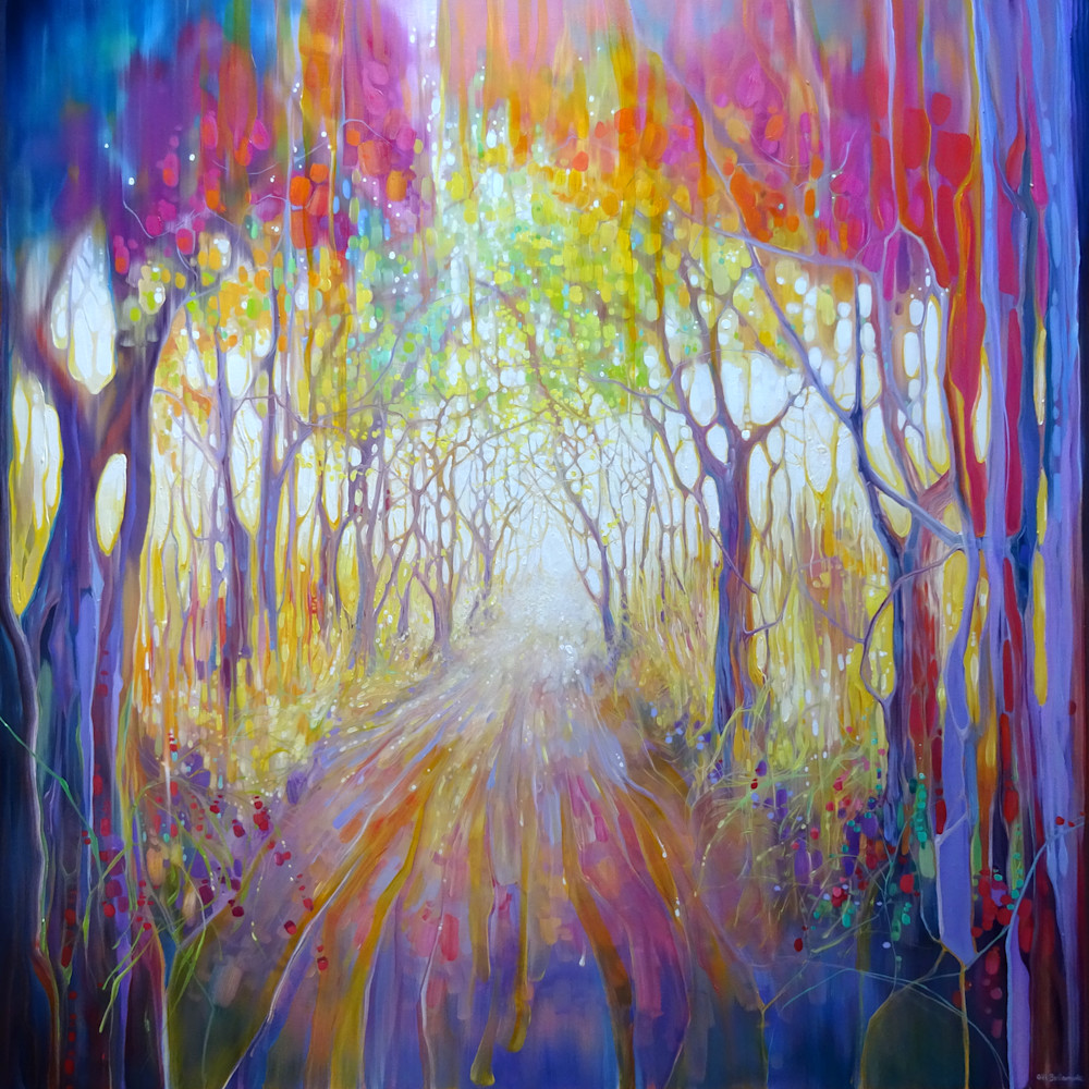 Print on canvas, paper, wall art, of a vibrant abstract woodland path in autumn.