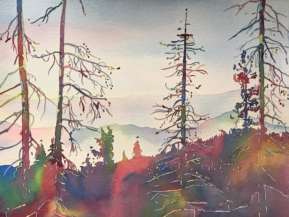 Contemporary mountain landscape of Oregon Cascade Range.  Fine Art Watercolor Painter Patrice Cameron.  Shop Art.