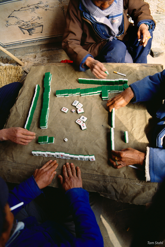 Playing mah-jong, Dali, Yunnan, China, 1992.