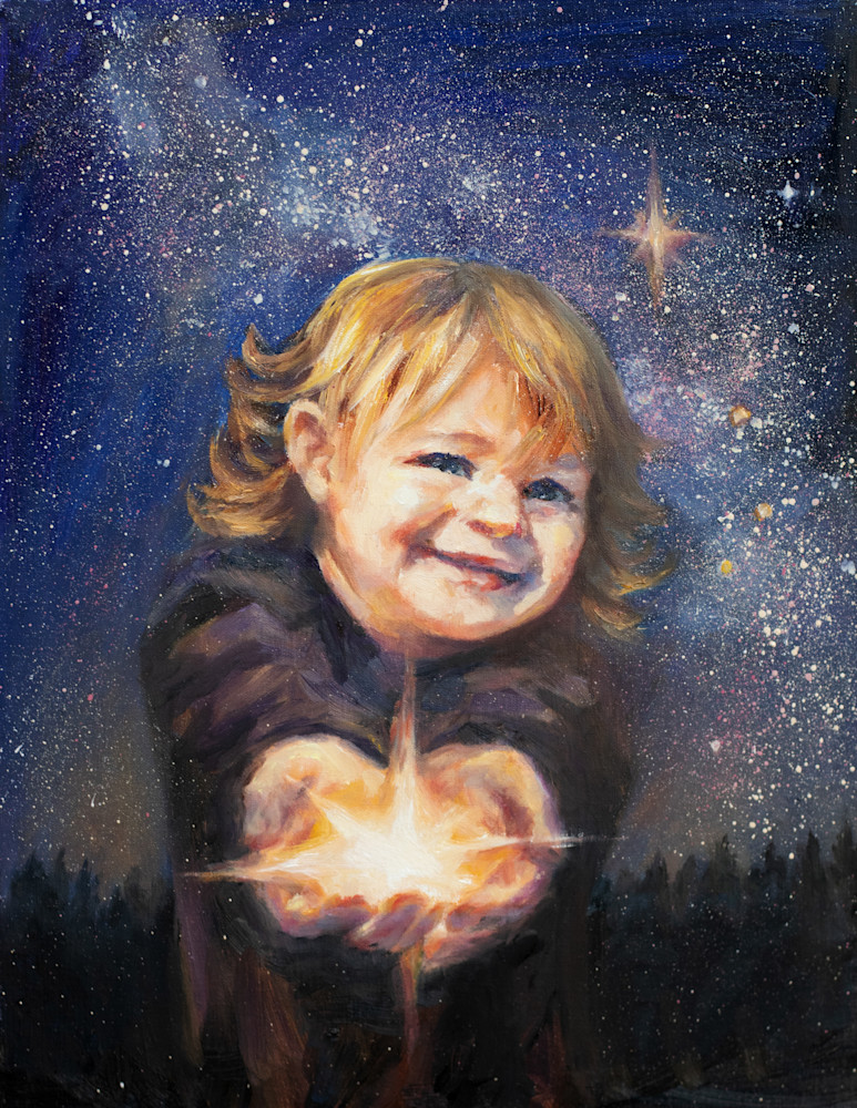 Share the Light - Merry Christmas, oil painting and prints by Ans Taylor
