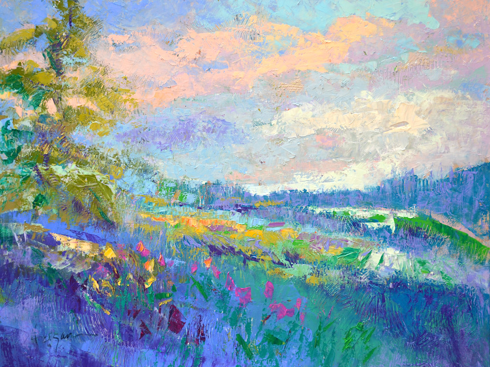 Large Blue Landscape Painting Art Print by Dorothy Fagan