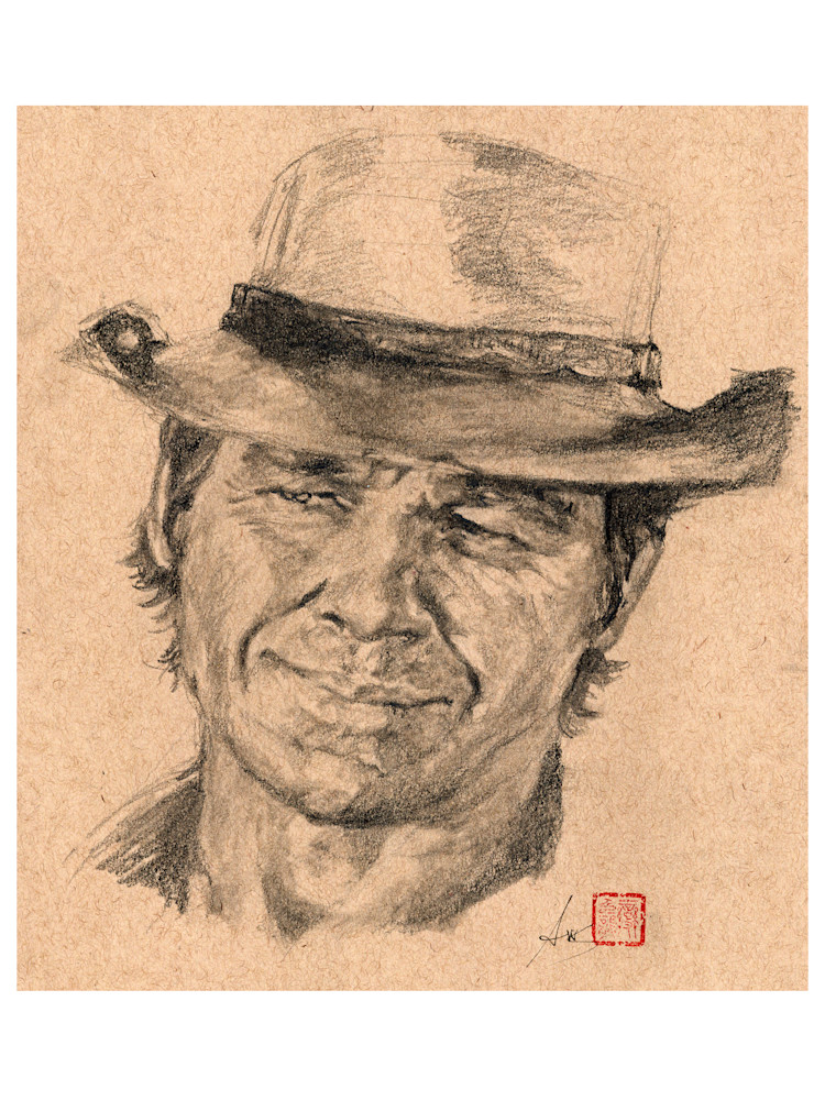 Charles Bronson, pencil and charcoal on toned paper by Ans Taylor