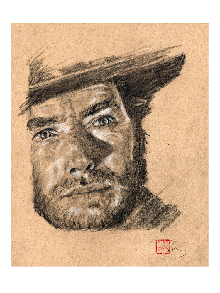 Clint Eastwood 2, pencil and charcoal on toned paper by Ans Taylor
