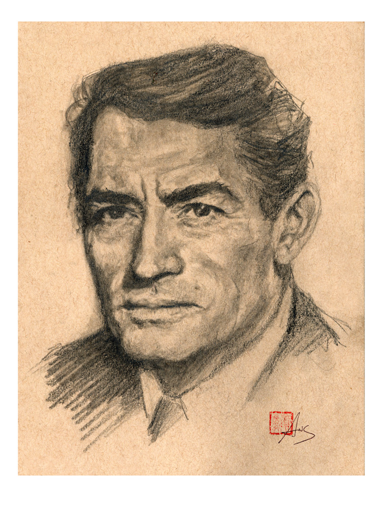 Gregory Peck, pencil drawing by Ans Taylor