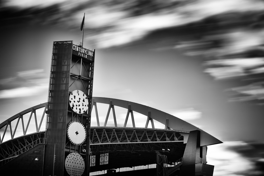 Fine art long exposure black and white prints of CenturyLink Field in Seattle Washington.