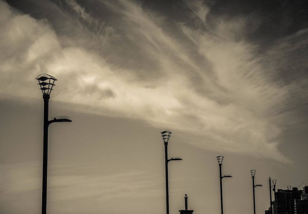 Lightstands And Clouds Atlantic City Photography Art | Dan Katz, Inc.