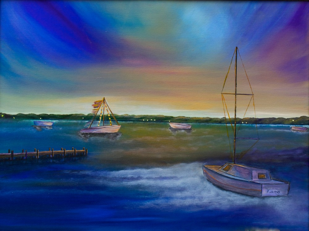 Evening In The Harbour Art | Marie Art Gallery