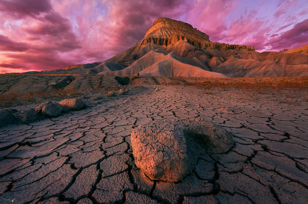 Mt Garfield Crackle Sunset Photography Art   Derrick Snider Imagery