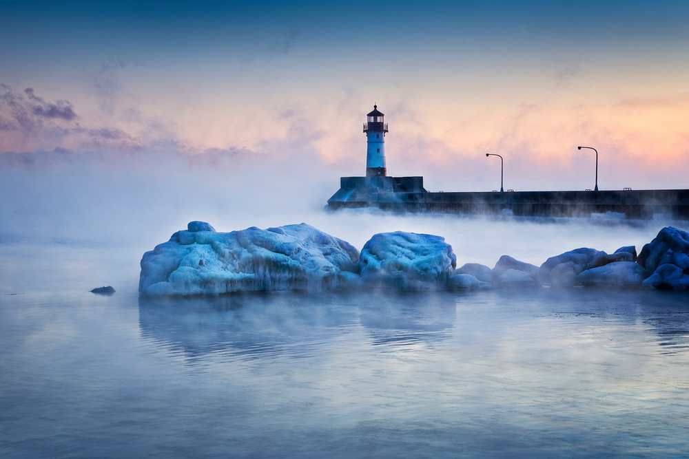 Duluth Canal Park Lighthouse At Sunrise