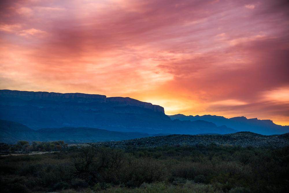 Sunrise over the Sierra del Carmen Mountains - Big Bend National Park photography prints