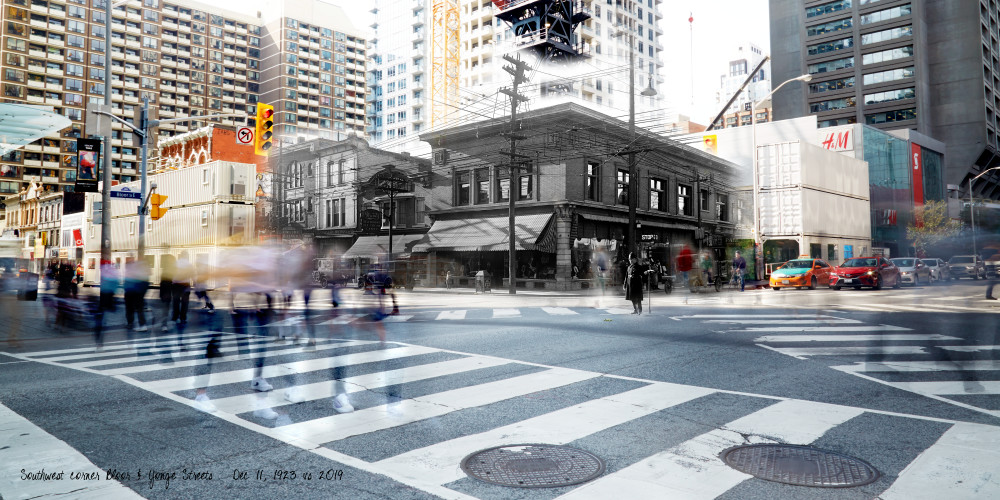 Past Present - Stollery's at Bloor & Yonge SW corner