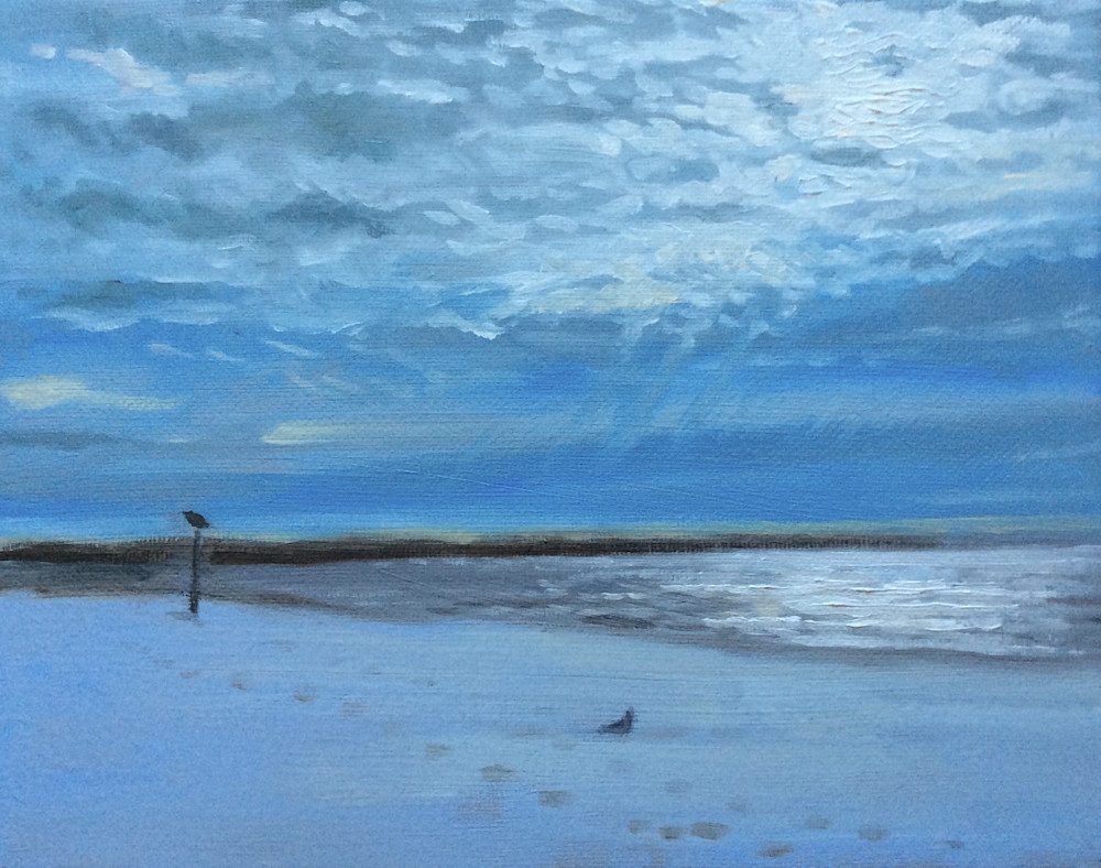 The Beach in January Fine Art Landscape Print by American Artist Hilary J. England