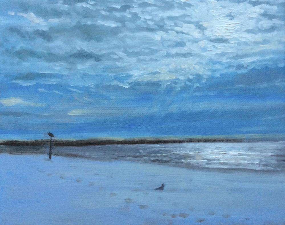 The Beach in January Fine Art Landscape Print by American Artist Hilary J. England